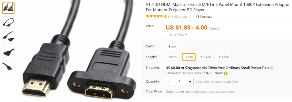 HDMI cable mount