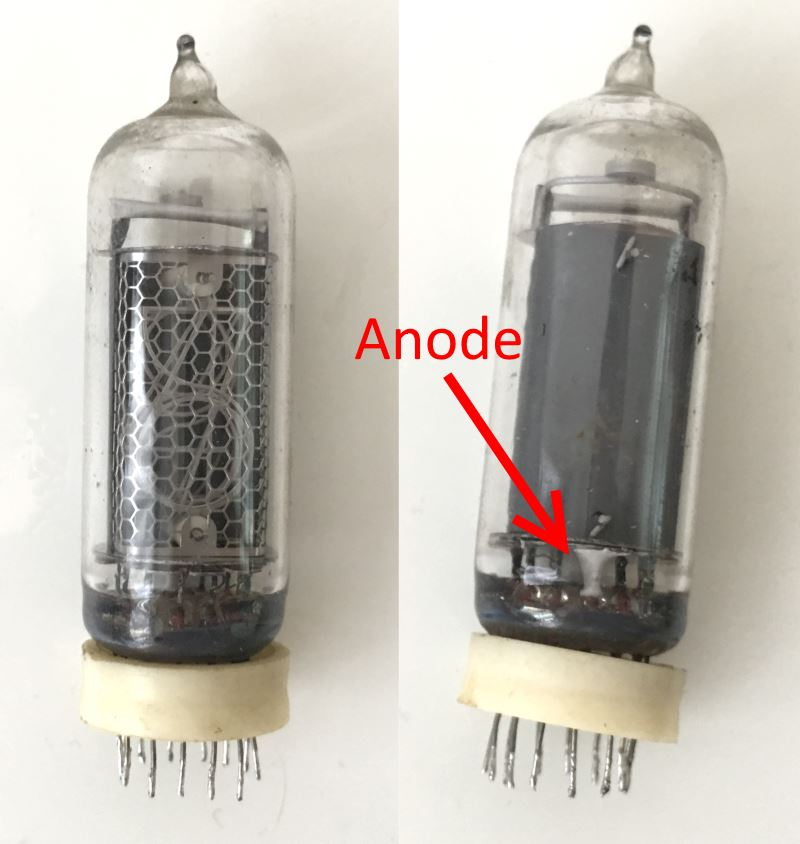 IN-14 nixie tube with the anode clearly visible