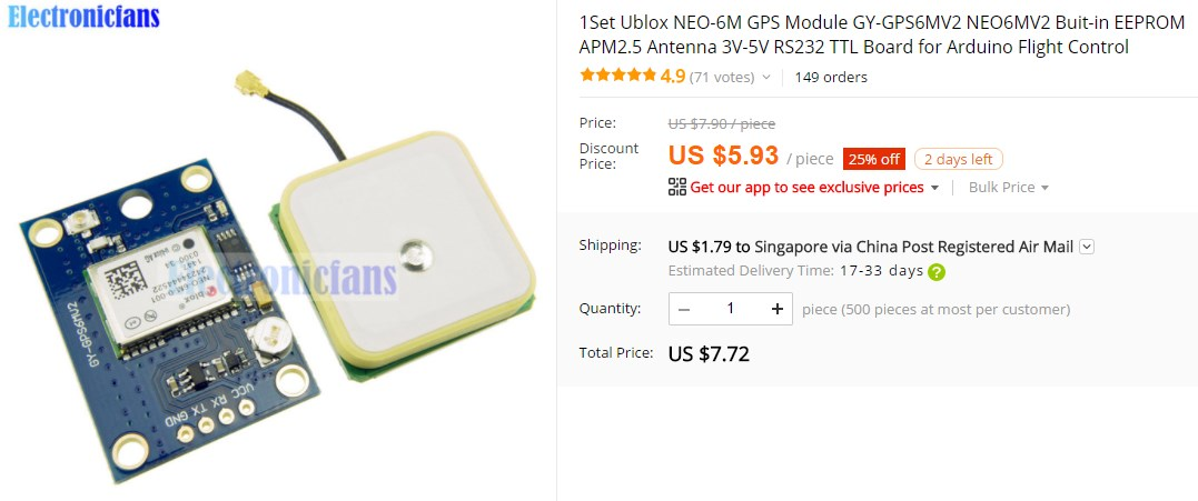 U-blox NEO-6M GPS Module used in this tutorial