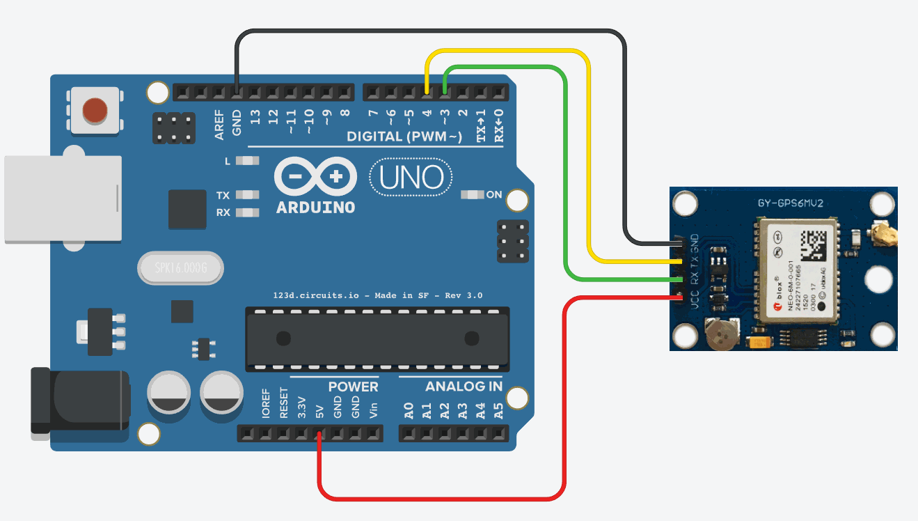 Arduino connected to GPS Module