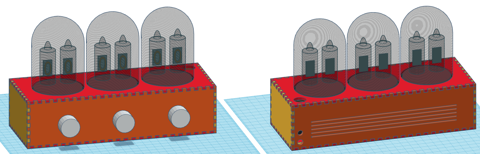 Front and back view of the Nixie Clock on Tinkercad