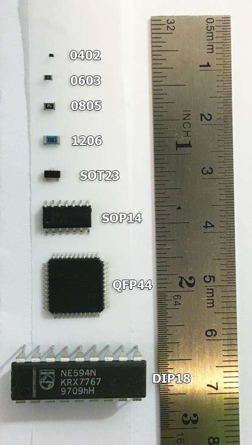 Common SMD resistors package size comparison. I included a DIP package so you can clearly see the incredible size difference.