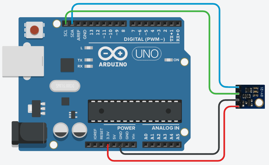 Si7021 sensor connected to Arduino