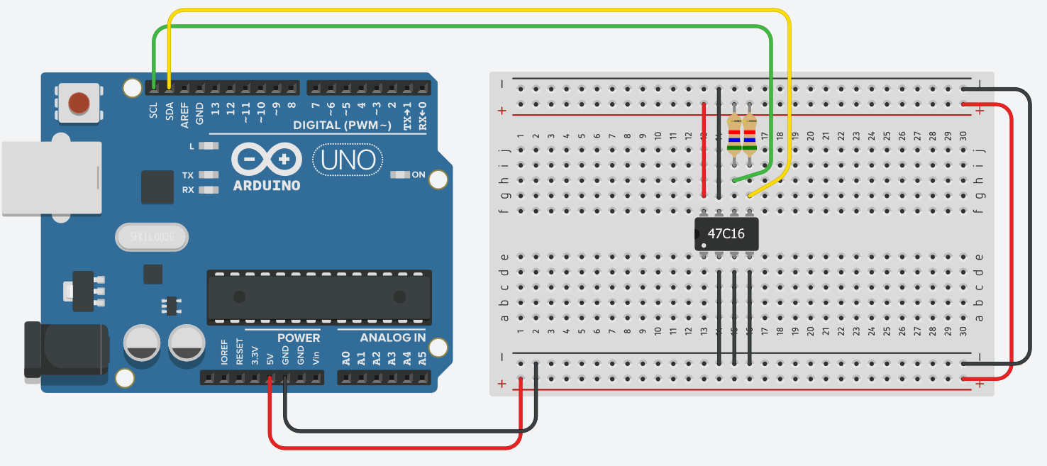 47C16 RAM connected to Arduino Uno