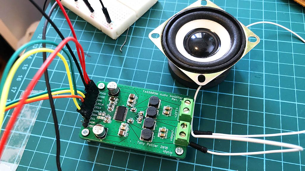 TAS5805M breakout board plugged into a 4Ohm speaker and driven by an ESP32