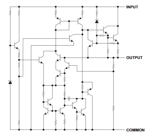 UA78xx: an actual linear regulator design. Schematics by Texas Instruments.