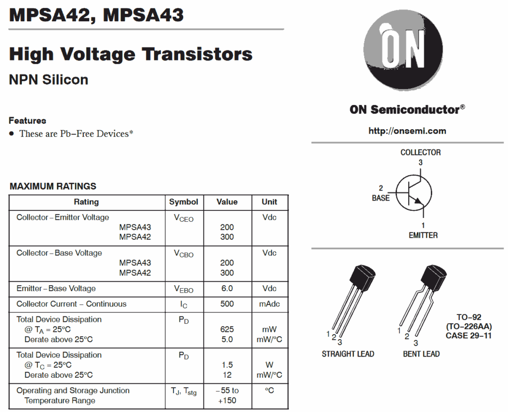 The datasheet for the MPSA42 transistor