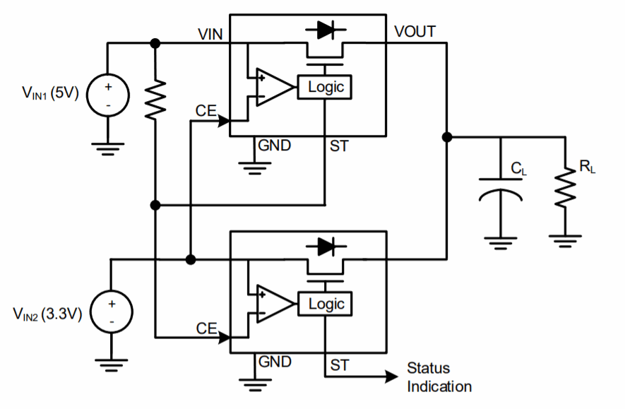 LM66100 Dual Ideal Diode ORing for Continuous Output Power. Credits: Texas Instruments