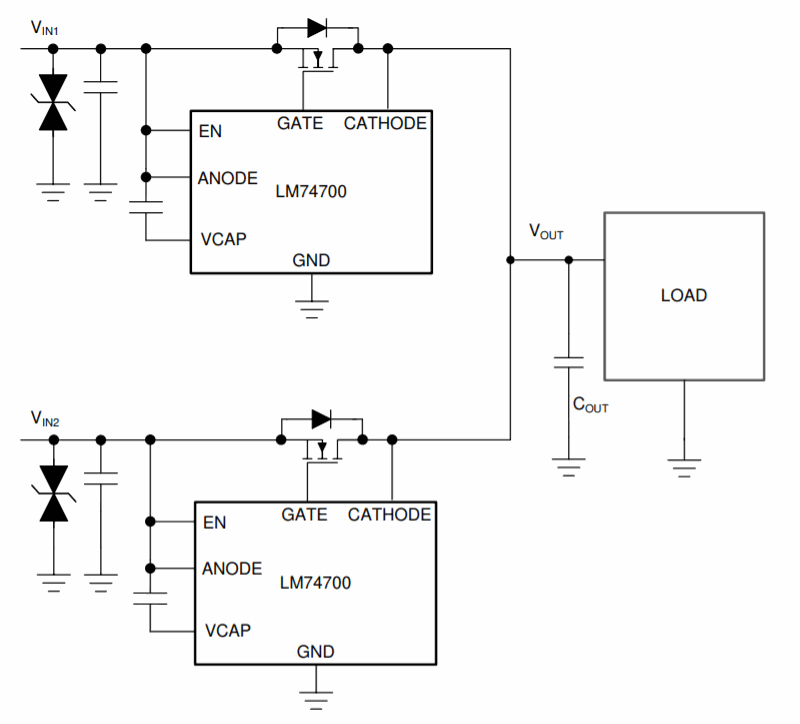 LM74700 Typical OR-ing Application. Credits: Texas Instruments