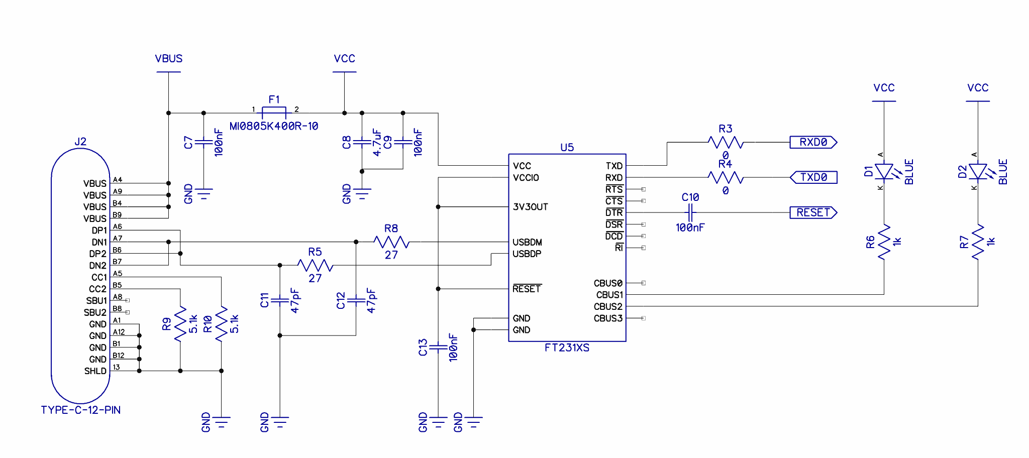 Typical USB type C connected to a FT231XS